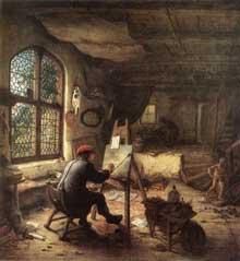Adriaen van Ostade:le peintre dans son atelier. 1663. Huile sur chêne, 38 x 35,5 cm. Dresde, Gemäldegalerie