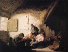 Adriaen van Ostade: taverne villageoise avec quatre buveurs. Huile sur bois. Salzbourg. Residenzgalerie