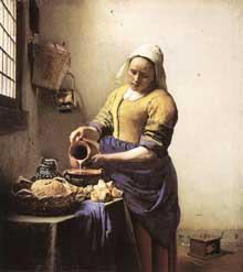 Jan Vermeer: la laitière. 1658. Huile sur toile, 45,5 x 41 cm. Amsterdam, Rijksmuseum.