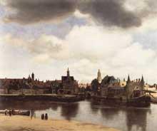 Jan Vermeer: vue de Delft. 1659-1660.Huile sur toile, 98,5 x 117,5 cm. La Haye, Mauritshuis