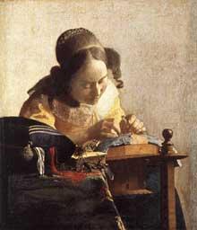 Jan Vermeer: La dentellière. 1669-1670. Huile sur toile transférée sur panneau, 23.9 x 20.5 cm. Paris, Musée du Louvre