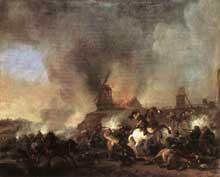 Philipps Wouvermann: bataille de cavalerie devant un moulin en feu. 1660. Huile sur toile, 54 x 66 cm. Dresde, Gemäldegalerie.