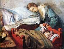 Christian Krogh (1852-1925): mère dormant avec son enfant. 1883. Huile sur toile