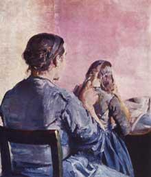 Christian Krogh (1852-1925): mère tressant les cheveux de sa fille. 1882. Huile sur toile. 55 x 49cm. Oslo, Nasjonalgallerie