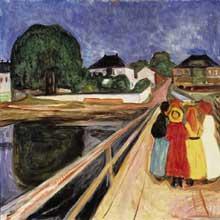 Munch Edward: jeunes filles sur un pont. 1902. Huile sur toile