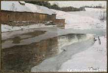 Fritz Thaulow (1847-1906): Une fabrique sous la neige en Norvège en 1892. Pastel sur papier, 0,64 x 0,96cm. Paris, musée d'Orsay