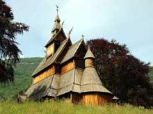Norvège: la «Stavkirke» (église en bois) de Hopperstad. XIIè