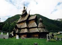 Norvège: la «Stavkirke» (église en bois) de Borgund. XIIè