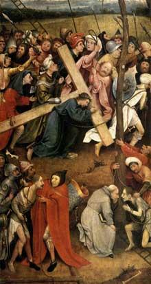 Hiéronimus Bosch (1450-1516): le Christ portant sa croix. 1515-1516. Huile sur panneau de bois, 74 x 81 cm. Gand, musée de Beaux Arts. (Histoire de l'art - Quattrocento
