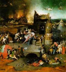 Hieronimus Bosch (1450-1516): la tentation de saint Antoine. Huile sur panneau,131,5 x119 cm. Madrid, musée du Prado. (Histoire de l'art - Quattrocento