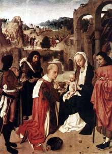 Geertgen tot Sint Jans (Gérard de Saint Jean, 1460-1490): adoration des Mages. Huile sur bois, 90 x 70cm. Amsterdam, Rijksmuseum. (Histoire de l'art - Quattrocento