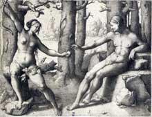 Lucas de Leyde: Adam et Eve Gravure au burin. Université de Liège