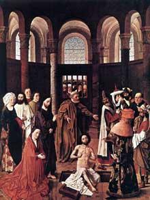 Albert van Ouwater (actif entre 1440 et 1465): la résurrection de Lazare. 1455, huile sur panneau de bois, 122x92cm. Berlin, Staatliche Museen. (Histoire de l'art - Quattrocento