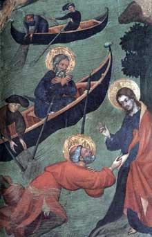 Lluis Borrassa: saint Pierre marche sur les eaux. 1411-1413. Peinture sur bois; 102 x 65 cm  Sant Pere, Terrasa