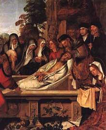 Cristovao de Figueiredo: la mise au tombeau. Vers 1530. Huile sur bois, 182 x 155,5 cm. Lisbone, Museu Nacional de Arte Antiga