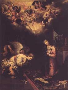 Bento Coelho da Silveira ( 1707) Annonciation. 1655. Huile sur toile, 123 x 98 cm.Musée de San Roque. Lisbonne