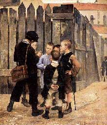 Marie Bashkirtseff (1858-1884): Rencontre de gosses. 1884. Huile sur toile 195 x 177 cm. Paris, musée d'Orsay