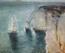Constantin Kousnetzoff (1863-1936): falaise à Etretat. Huile sur toile 65x81cm
