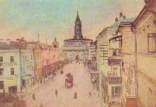 Moscou: la tour Soukharev (1692) aujourd'hui détruite