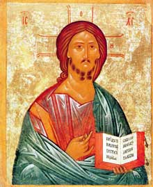 Christ Pantocrator XV-XVIe, école de Novgorod. Galerie Tretyakov, Moscou