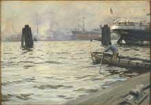 Anders Zorn (1860-1920): le port de Hambourg. Huile sur toile. 1891. Stockholm, Musée National