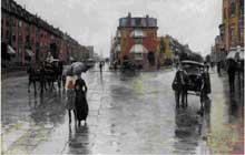Frederick Childe Hassam (1859-1935): jour de pluie sur Columbus Avenue, Boston, 1885. Huile sur toile. Toledo Museum of Art